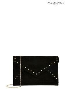 Accessorize Black Petra Studded Envelope Clutch