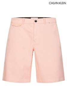 Calvin Klein Pink Slim Fit Garment Dyed Chino Shorts