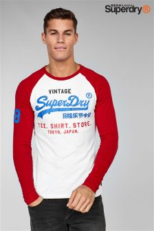 Superdry Red/White Script Logo Long Sleeve Raglan Top