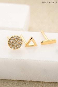 Mint Velvet Gold Plated Dot Dash Stud Earrings Set