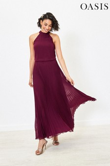 Oasis Red Megan Pleat Maxi Dress