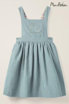 Boden Blue Embroidered Pinafore Dress