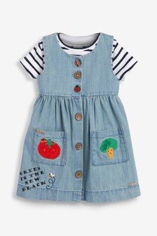 Veggie Denim Dress Set (3mths-7yrs)
