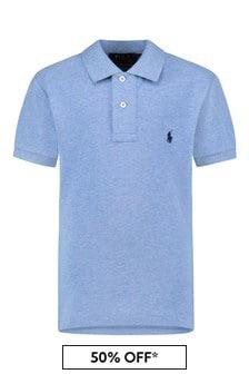 Boys Blue Heather Cotton Slim Fit Polo Top