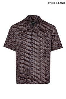 River Island Navy Chain Print Revere Shirt