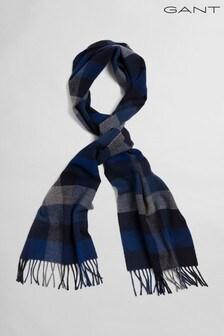 GANT Blue Multi Check Wool Scarf