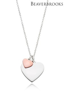 Beaverbrooks Silver And Rose Gold Plated Double Heart Pendant