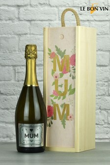 Mum's Prosecco Wood Box Gift by Le Bon Vin
