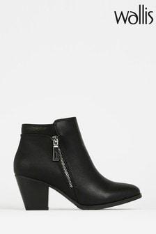 Wallis Black Arabella Side Zip Ankle Boots