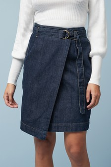 Wrap Midi Denim Skirt