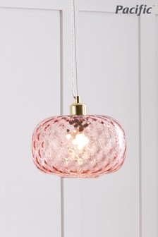 Azores Rose Textured Glass Oval Pendant by Pacific Lighting