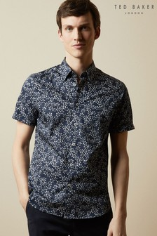 Ted Baker Blue Yepyep Short Sleeve Floral Print Shirt