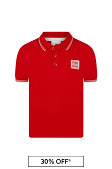 Boss Kidswear Boys Red Cotton Poloshirt
