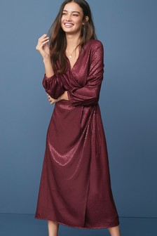 Long Sleeve Jacquard Wrap Dress