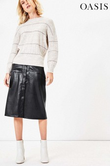 Oasis Black Faux Leather Midi Skirt