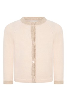 Baby Girls Pink Cotton And Wool Knitted Cardigan