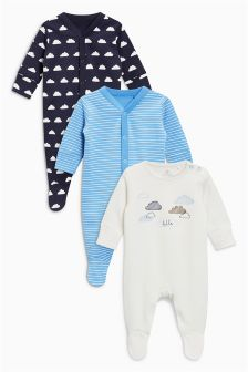 Cloud Sleepsuits Three Pack (0mths-2yrs)