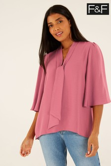 F&F Pink Angel Sleeve Tie Neck Blouse