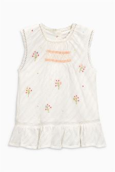 Embroidered Smocked Peplum Blouse (3mths-6yrs)