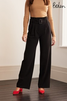 Boden Black Powis Wide Leg Trousers