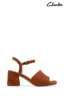 Clarks Tan Suede Sheer65 Block Sandals