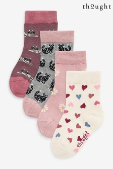 Thought Pink Kitty Kids Sock Box 4 Pack