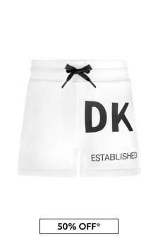 DKNY White Cotton Shorts