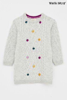 White Stuff Yellow Kids Cosy Cable Pom Jumper Dress