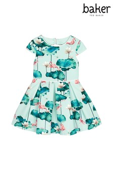baker by Ted Baker Pale Green Lilypad Scuba Godet Dress