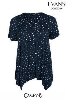 Evans Curve Navy Heart Print Pintuck Top