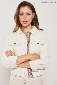 Mint Velvet Cream Cord Cropped Jacket