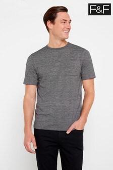 F&F Grey Marl/Navy Stripe T-Shirt