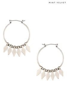 Mint Velvet Silver Tone Beaded Fringe Hoop Earrings