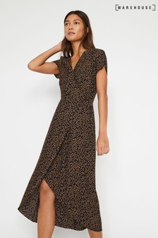 Warehouse Black Animal Print Midi Wrap Dress