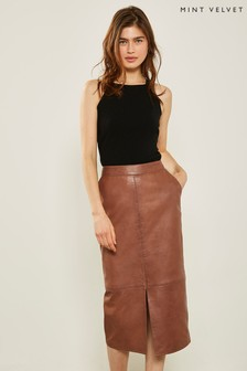 Mint Velvet Tan Leather Pencil Skirt