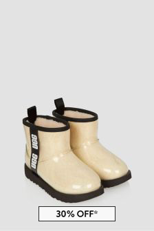 UGG Girls White Classic Clear Mini Boots