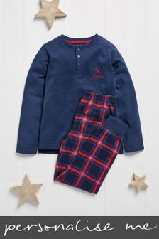 Personalised Navy Check Pyjamas