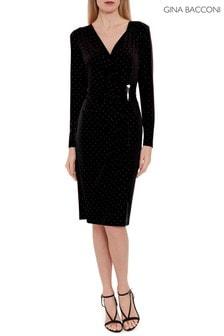 Čierne džersejové šaty Gina Bacconi Myani zdobené kamienkami