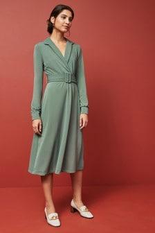 فستان متوسط الطول جيرسيه بحزام