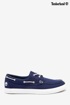 Timberland® Navy Union Wharf 2 Eye Canvas Boat Shoes