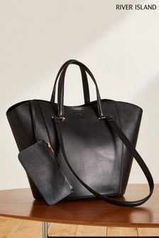 River Island Black Premium Clean Leather Tote Bag
