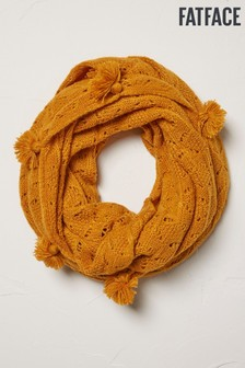FatFace Yellow Pointelle Knitted Snood