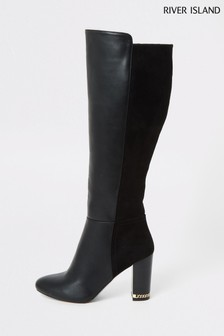 River Island Black Eager Block Heel Over The Knee Boots