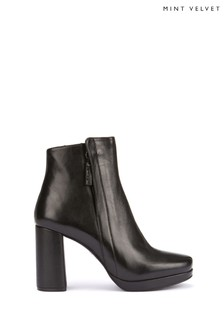Mint Velvet Black Billie Platform Ankle Boots