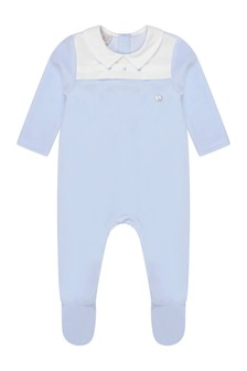 Boys Blue Velour Babygrow