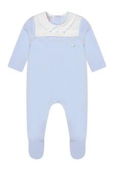 Boys Blue Velour Babygrow
