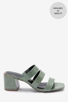 Strappy Block Heel Mule Sandals