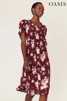 Oasis Red Erin Wrap Midi Dress