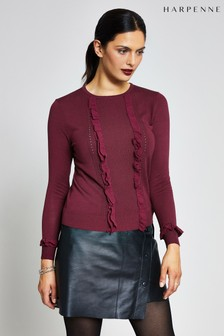 Harpenne Burgundy Silk-Mix Frill Knit Jumper
