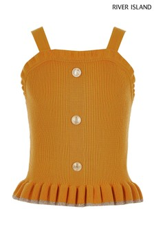 River Island Mustard Sparkle Frill Knitted Cami Top